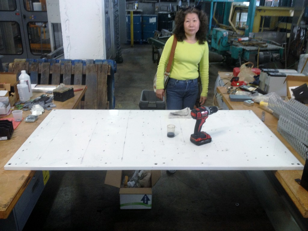 On site panel building - Mieko ready for lunch!